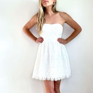 Lilly Pulitzer White Strapless Eyelet Pearl Dress